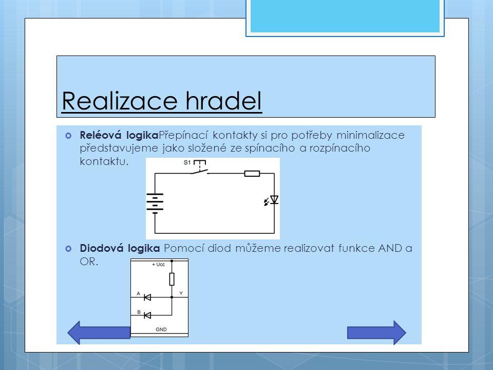 Realizace hradel Reléová logikaPřepínací kontakty si pro potřeby minimalizace představujeme jako složené ze spínacího a rozpínacího kontaktu.
