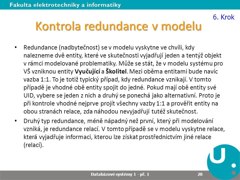Kontrola redundance v modelu