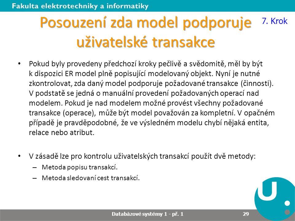 Posouzení zda model podporuje uživatelské transakce