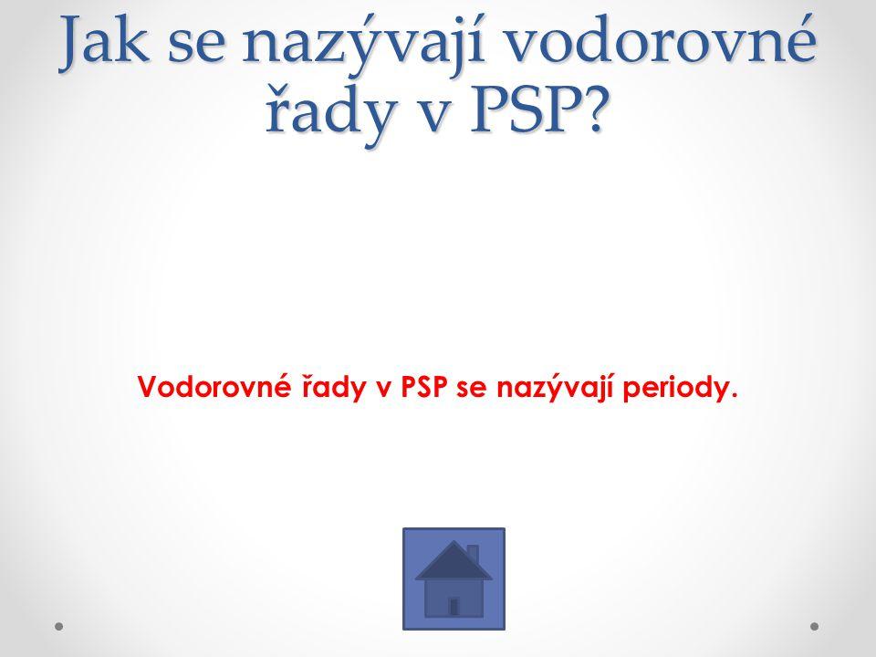 Jak se nazývají vodorovné řady v PSP