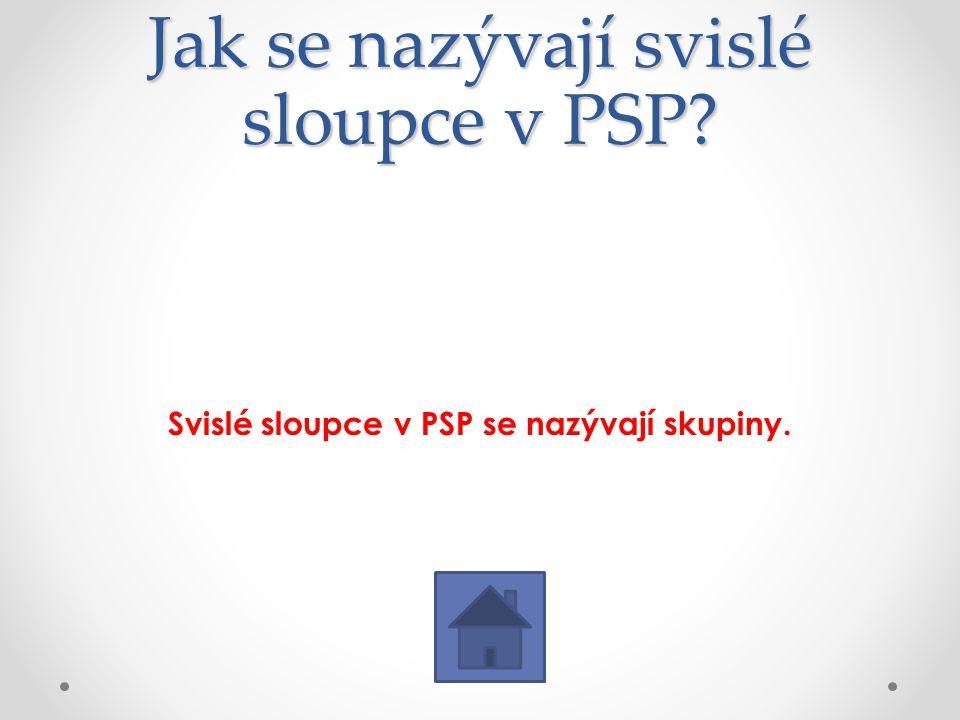 Jak se nazývají svislé sloupce v PSP