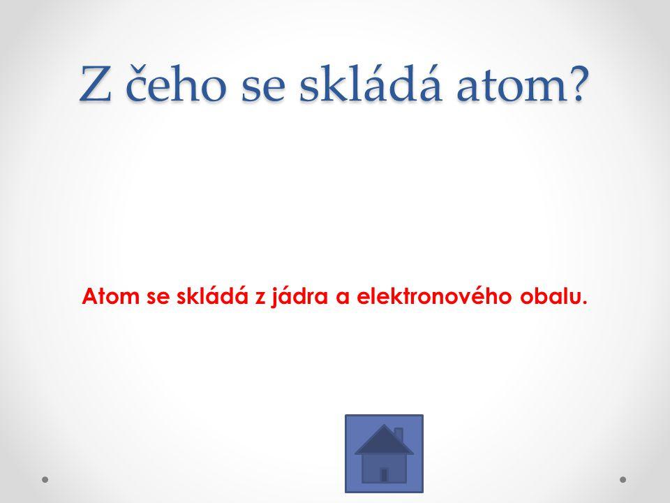 Atom se skládá z jádra a elektronového obalu.