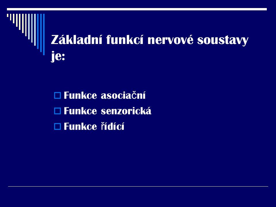 Základní funkcí nervové soustavy je: