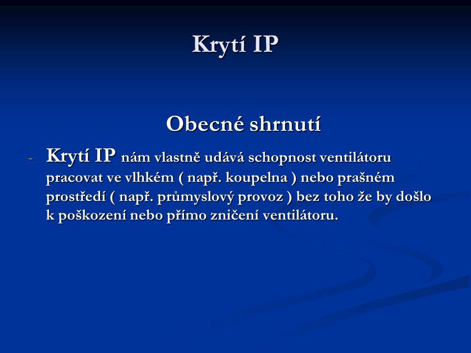 Krytí IP Obecné shrnutí.