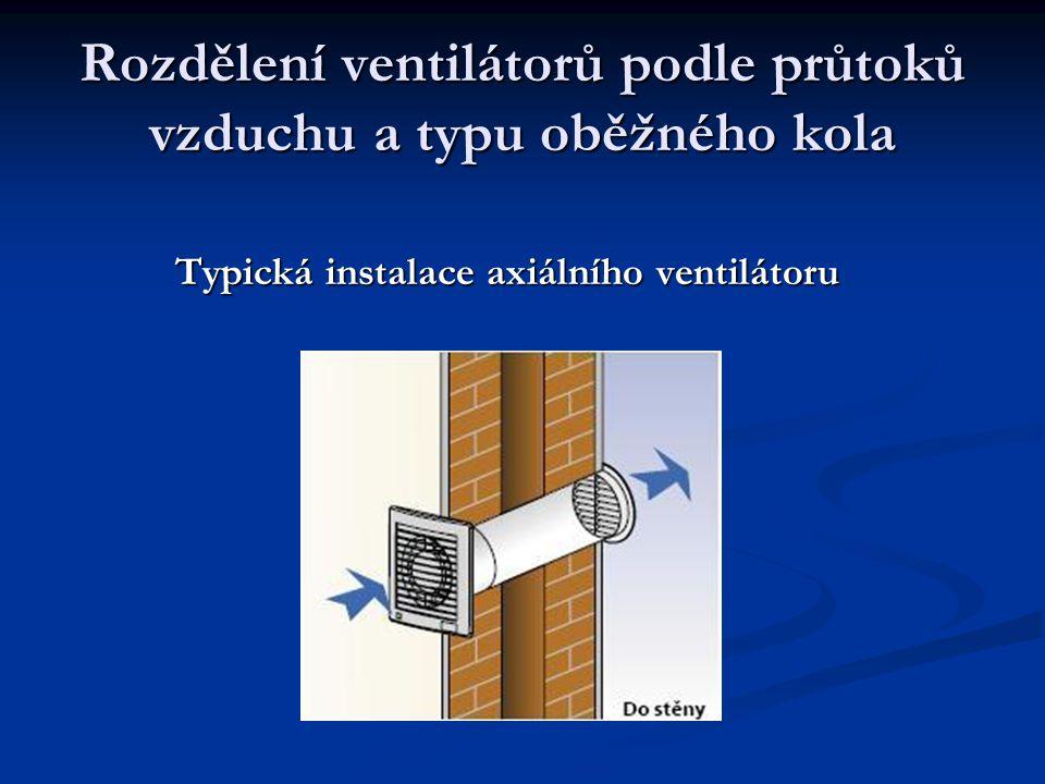 Rozdělení ventilátorů podle průtoků vzduchu a typu oběžného kola