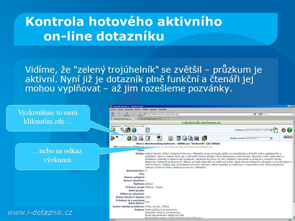 Kontrola hotového aktivního on-line dotazníku