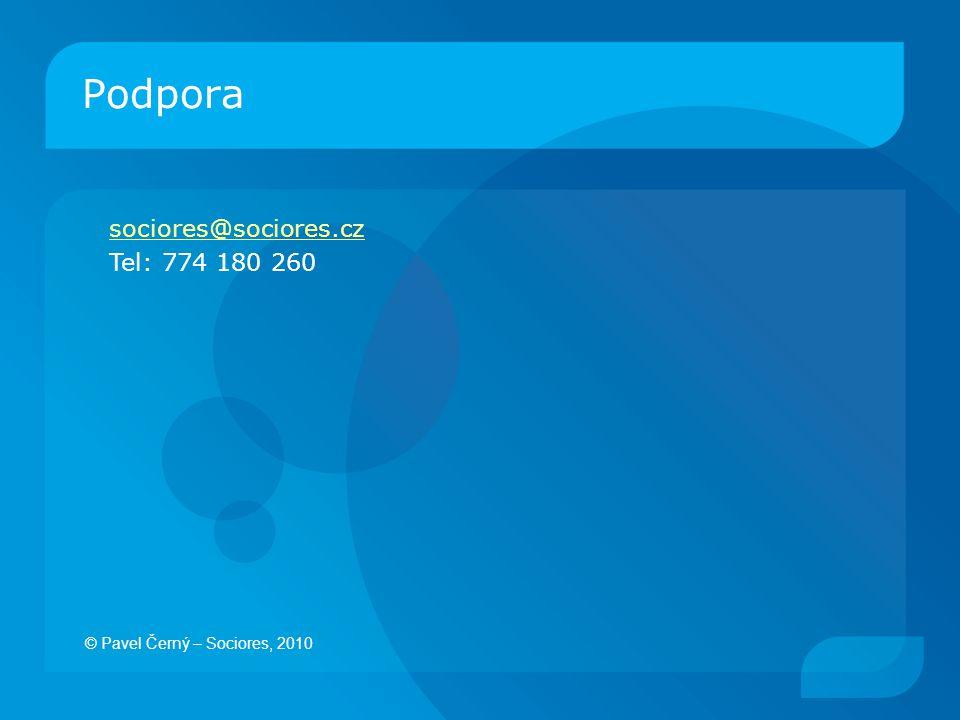 Podpora sociores@sociores.cz Tel: 774 180 260