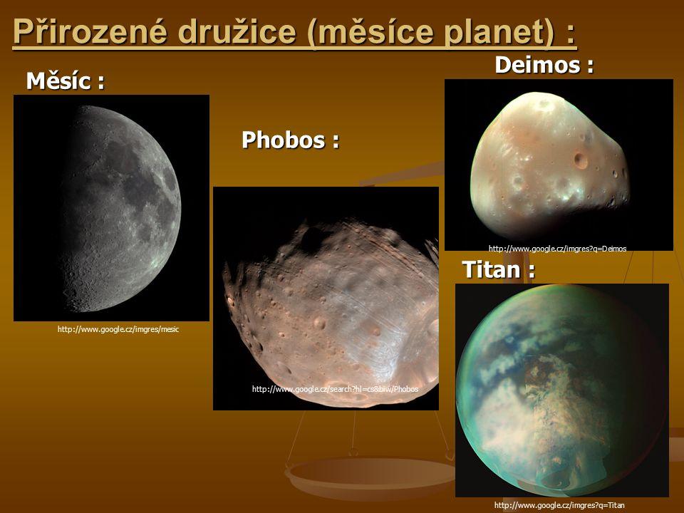 Přirozené družice (měsíce planet) :