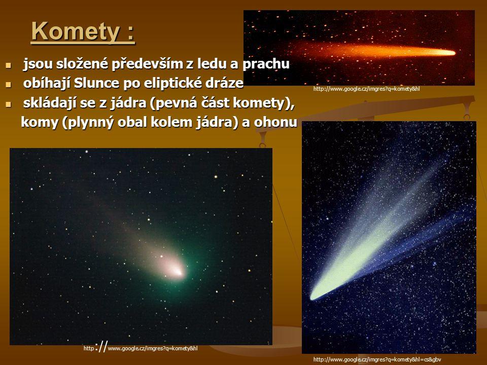 Komety : jsou složené především z ledu a prachu