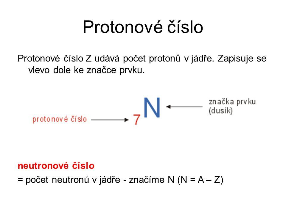Protonové číslo Protonové číslo Z udává počet protonů v jádře. Zapisuje se vlevo dole ke značce prvku.