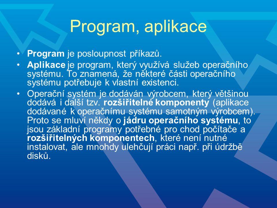 Program, aplikace Program je posloupnost příkazů.