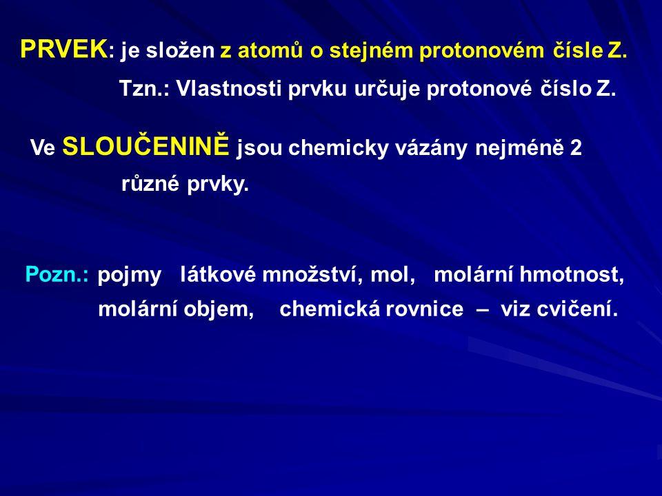PRVEK: je složen z atomů o stejném protonovém čísle Z.