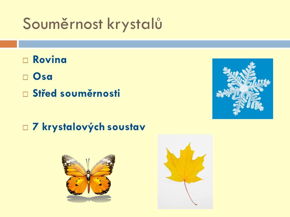 Souměrnost krystalů Rovina Osa Střed souměrnosti