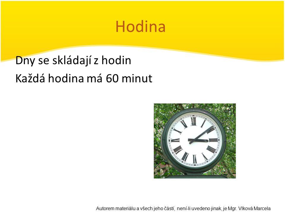 Hodina Dny se skládají z hodin Každá hodina má 60 minut
