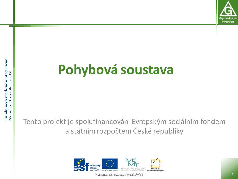 Pohybová soustava Tento projekt je spolufinancován Evropským sociálním fondem a státním rozpočtem České republiky.