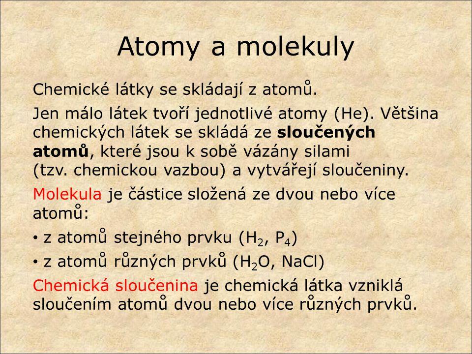 Atomy a molekuly Chemické látky se skládají z atomů.