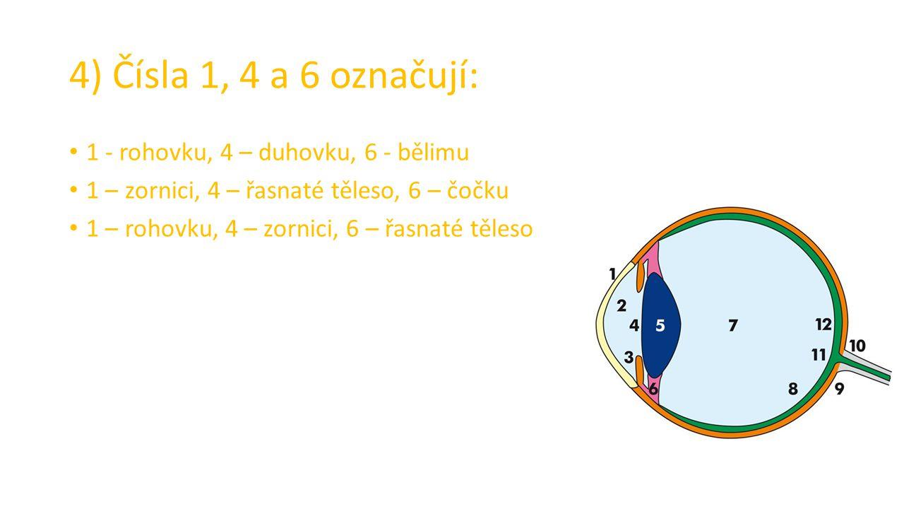4) Čísla 1, 4 a 6 označují: 1 - rohovku, 4 – duhovku, 6 - bělimu