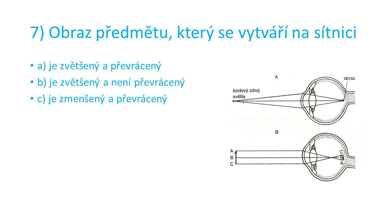7) Obraz předmětu, který se vytváří na sítnici