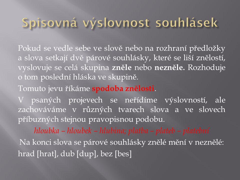 Spisovná výslovnost souhlásek