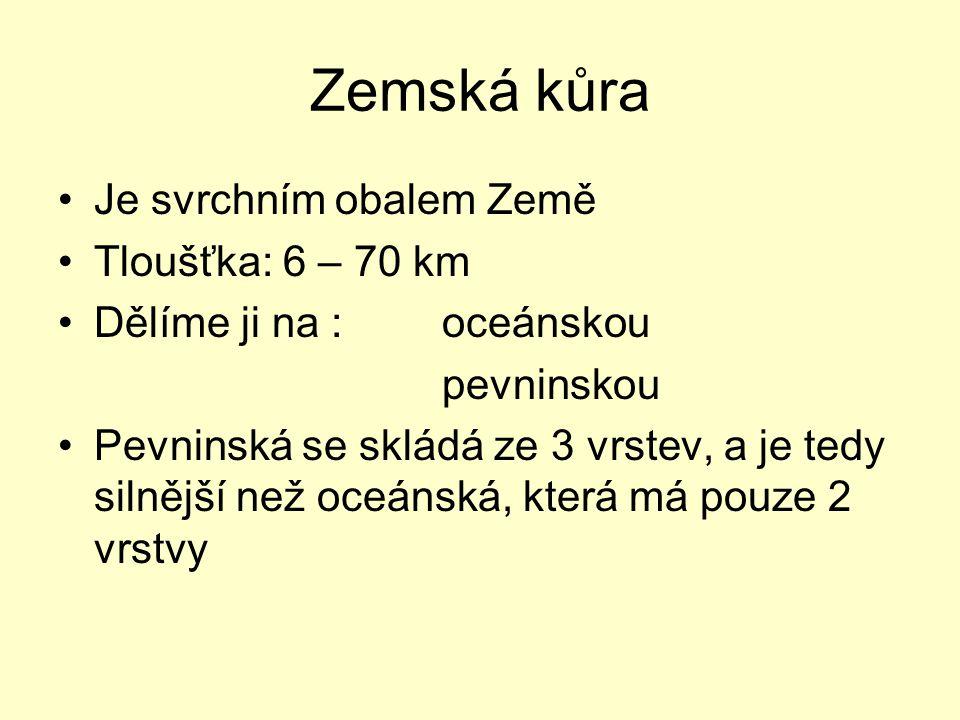 Zemská kůra Je svrchním obalem Země Tloušťka: 6 – 70 km