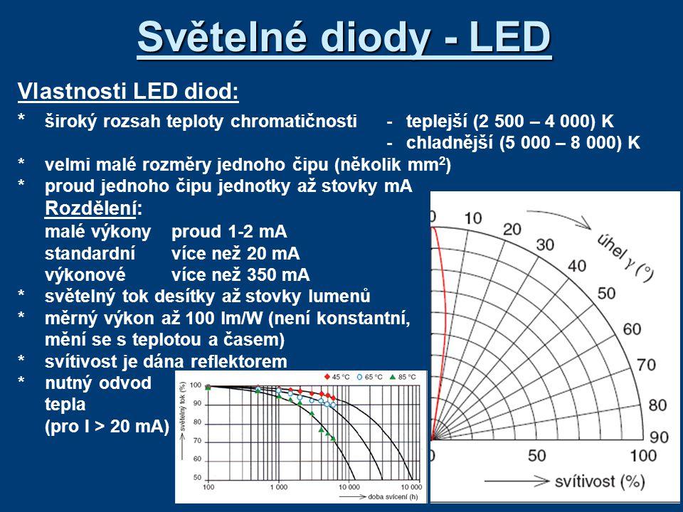 Světelné diody - LED Vlastnosti LED diod:
