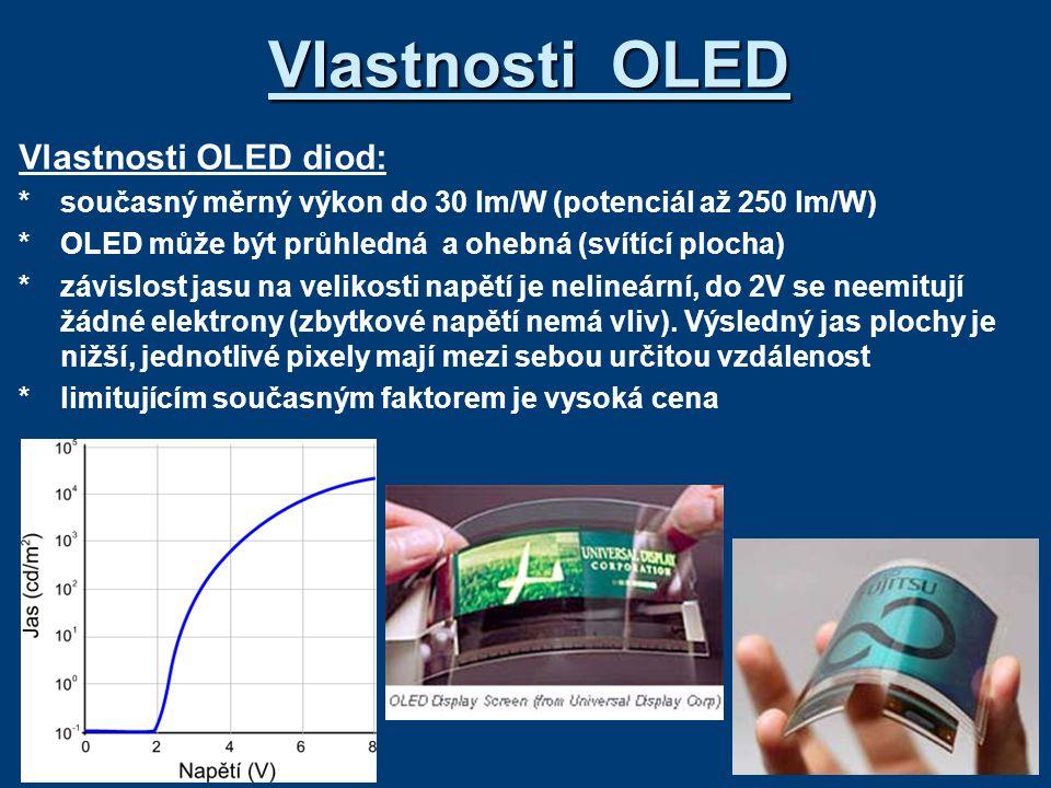 Vlastnosti OLED Vlastnosti OLED diod: