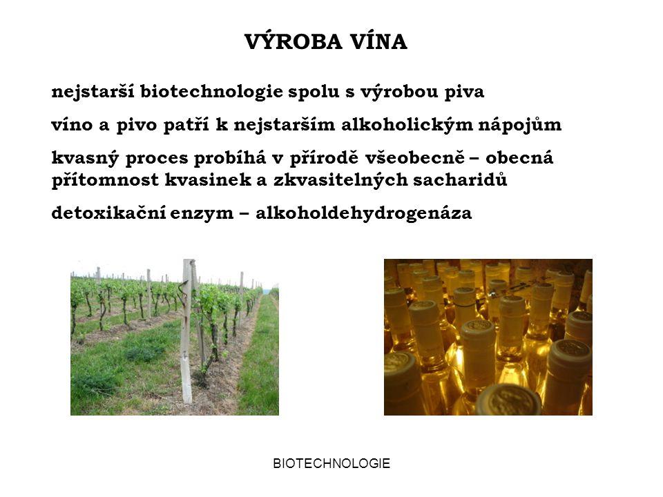 VÝROBA VÍNA nejstarší biotechnologie spolu s výrobou piva