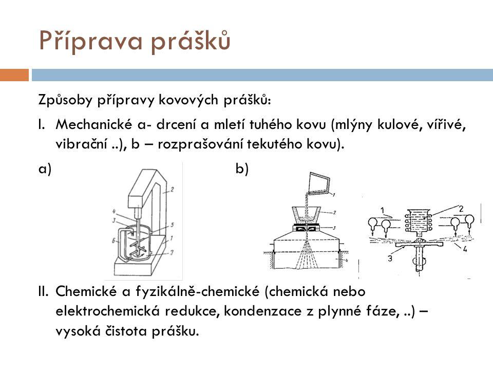 Příprava prášků Způsoby přípravy kovových prášků: