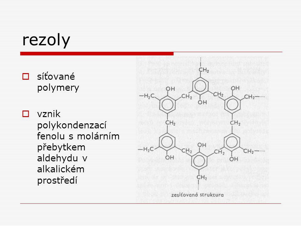 rezoly síťované polymery
