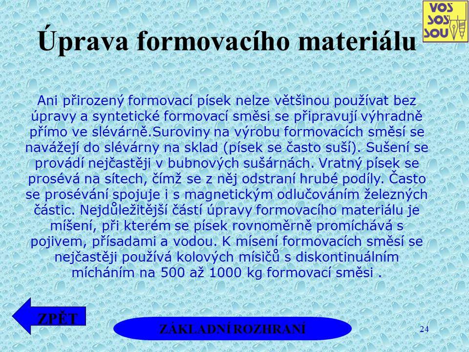 Úprava formovacího materiálu