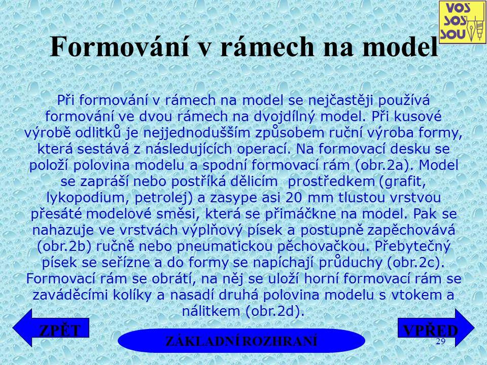Formování v rámech na model