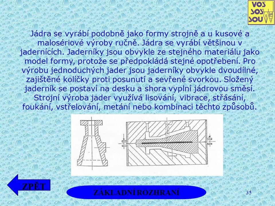 Jádra se vyrábí podobně jako formy strojně a u kusové a malosériové výroby ručně. Jádra se vyrábí většinou v jadernících. Jaderníky jsou obvykle ze stejného materiálu jako model formy, protože se předpokládá stejné opotřebení. Pro výrobu jednoduchých jader jsou jaderníky obvykle dvoudílné, zajištěné kolíčky proti posunutí a sevřené svorkou. Složený jaderník se postaví na desku a shora vyplní jádrovou směsí. Strojní výroba jader využívá lisování, vibrace, střásání, foukání, vstřelování, metání nebo kombinaci těchto způsobů.