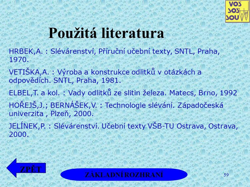 Použitá literatura ZPĚT