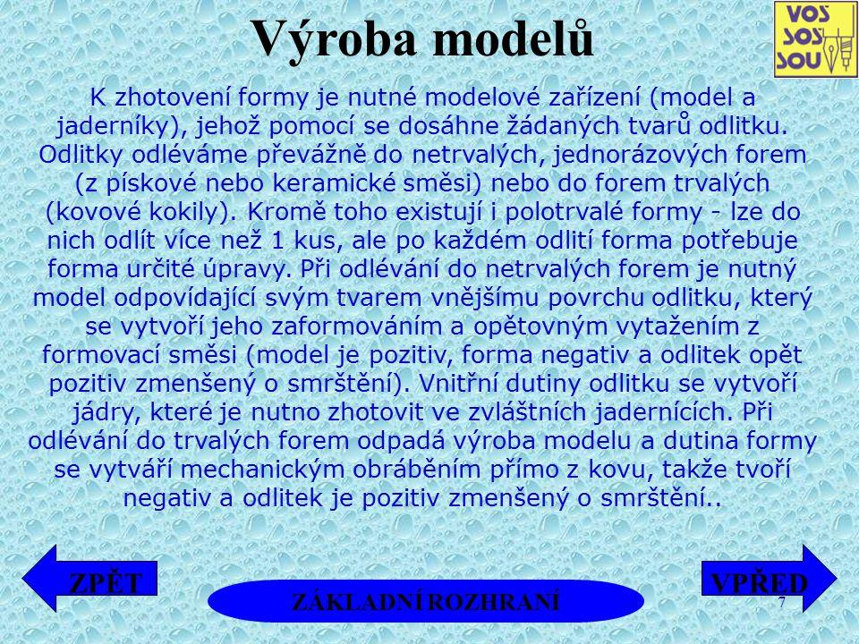 Výroba modelů ZPĚT VPŘED