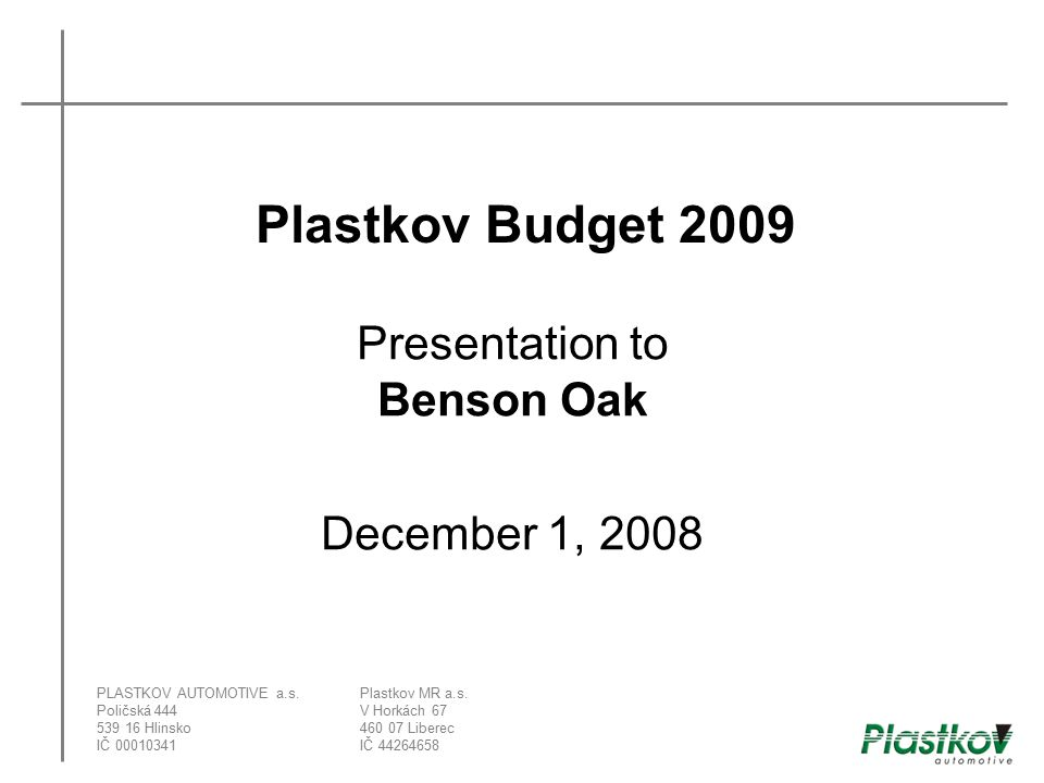 Presentation to Benson Oak December 1, 2008