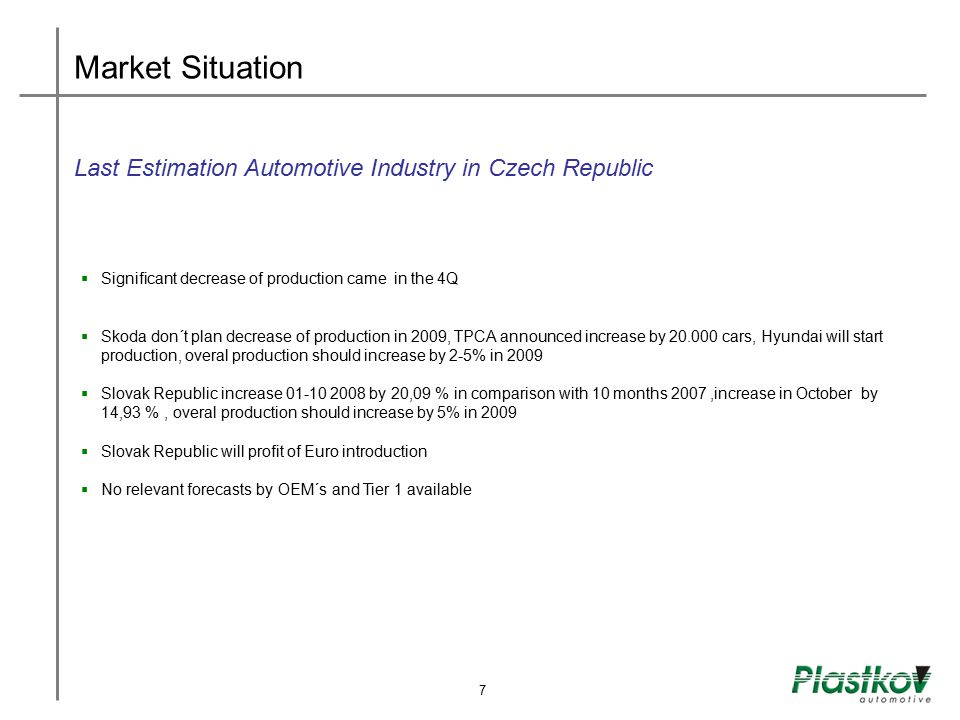 Market Situation Last Estimation Automotive Industry in Czech Republic