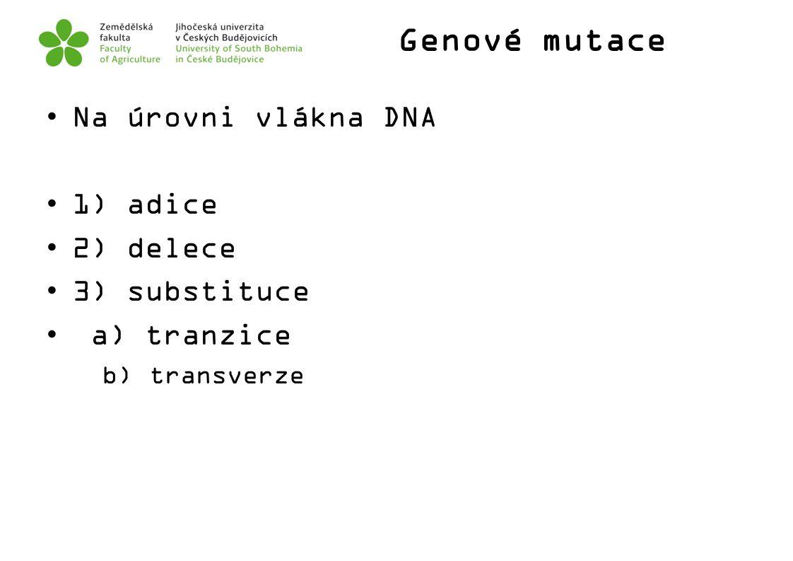Genové mutace Na úrovni vlákna DNA 1) adice 2) delece 3) substituce