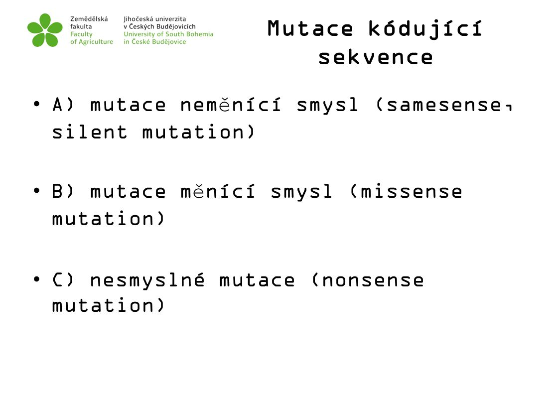 Mutace kódující sekvence
