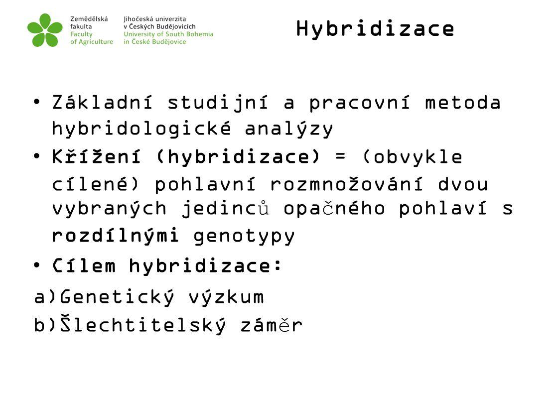 Hybridizace Základní studijní a pracovní metoda hybridologické analýzy