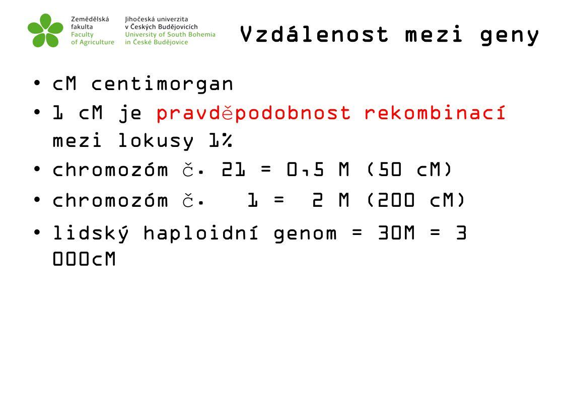 Vzdálenost mezi geny cM centimorgan