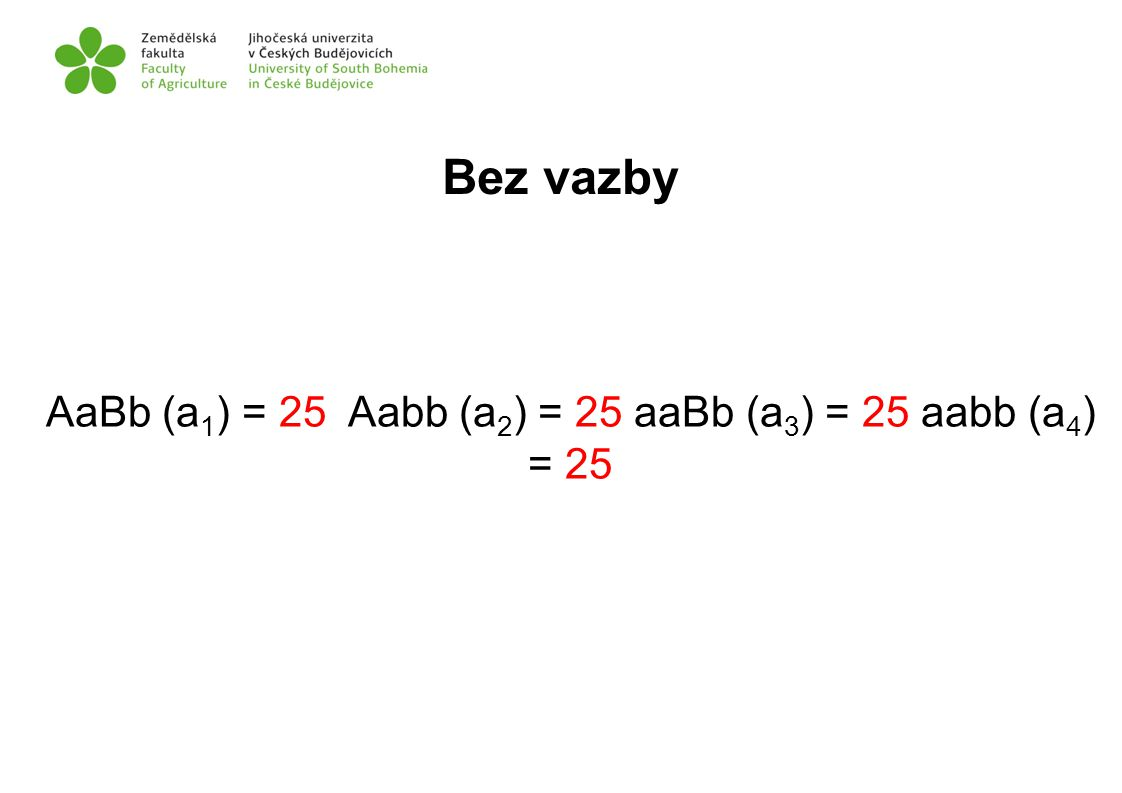 AaBb (a1) = 25 Aabb (a2) = 25 aaBb (a3) = 25 aabb (a4) = 25