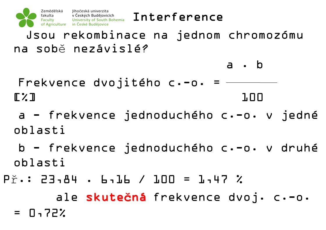 Interference Jsou rekombinace na jednom chromozómu na sobě nezávislé.