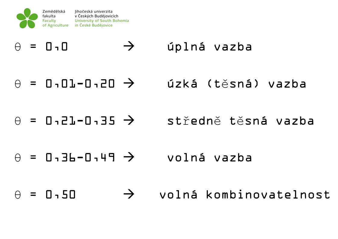 θ = 0,0  úplná vazba θ = 0,01-0,20  úzká (těsná) vazba. θ = 0,21-0,35  středně těsná vazba.