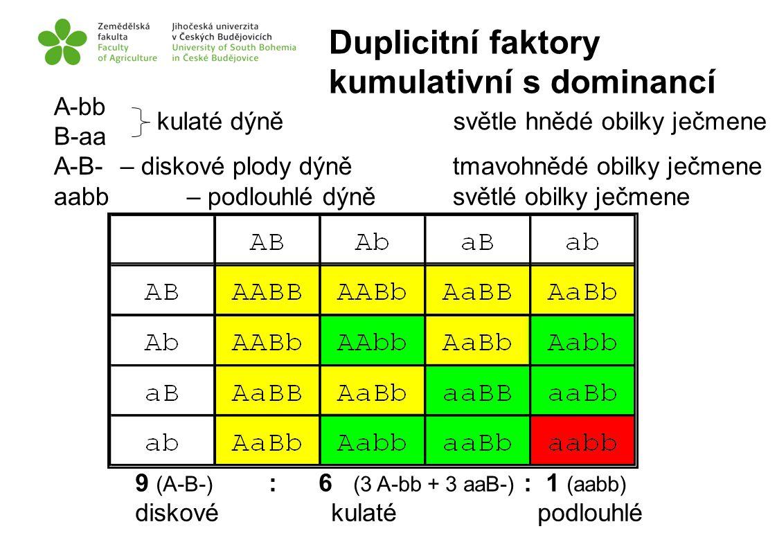 Duplicitní faktory kumulativní s dominancí