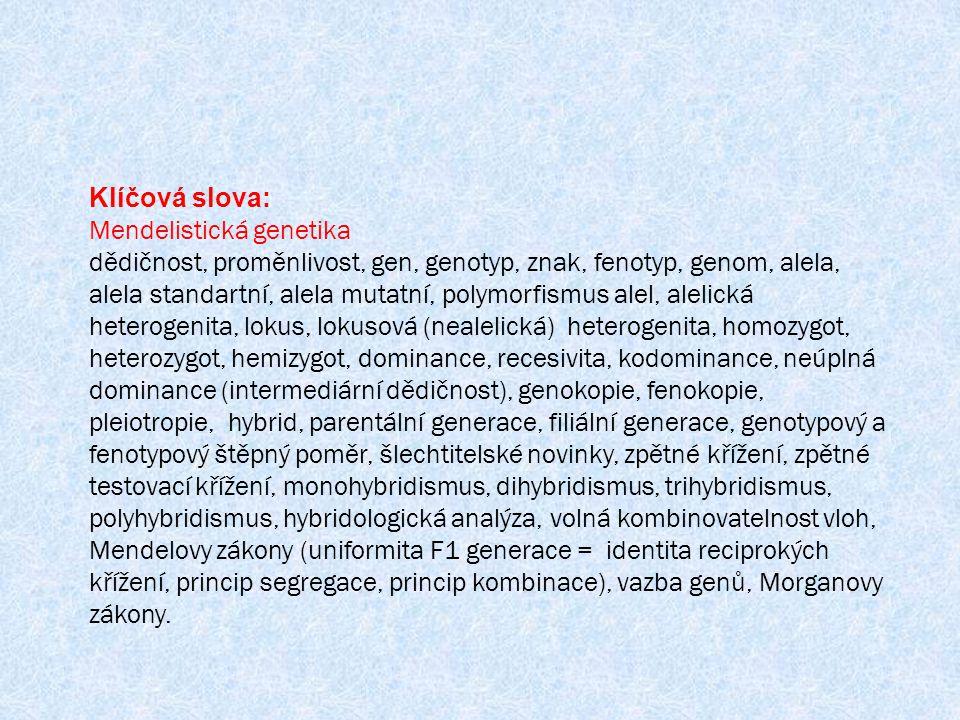 Klíčová slova: Mendelistická genetika.