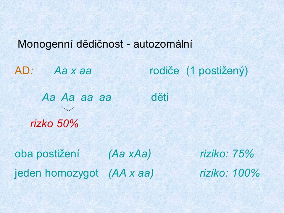 Monogenní dědičnost - autozomální