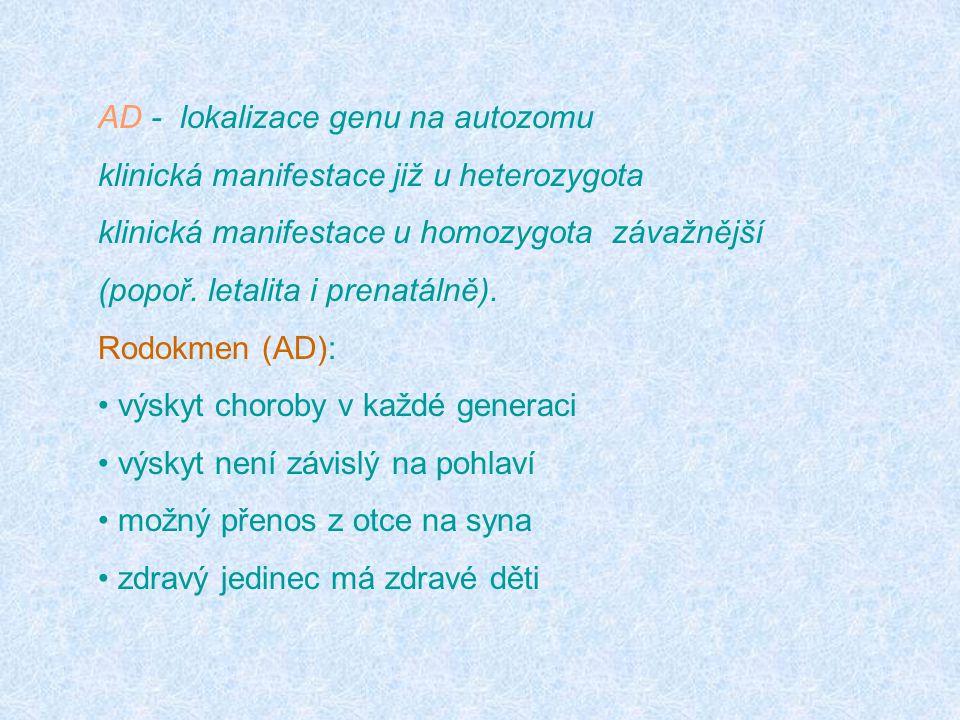 AD - lokalizace genu na autozomu