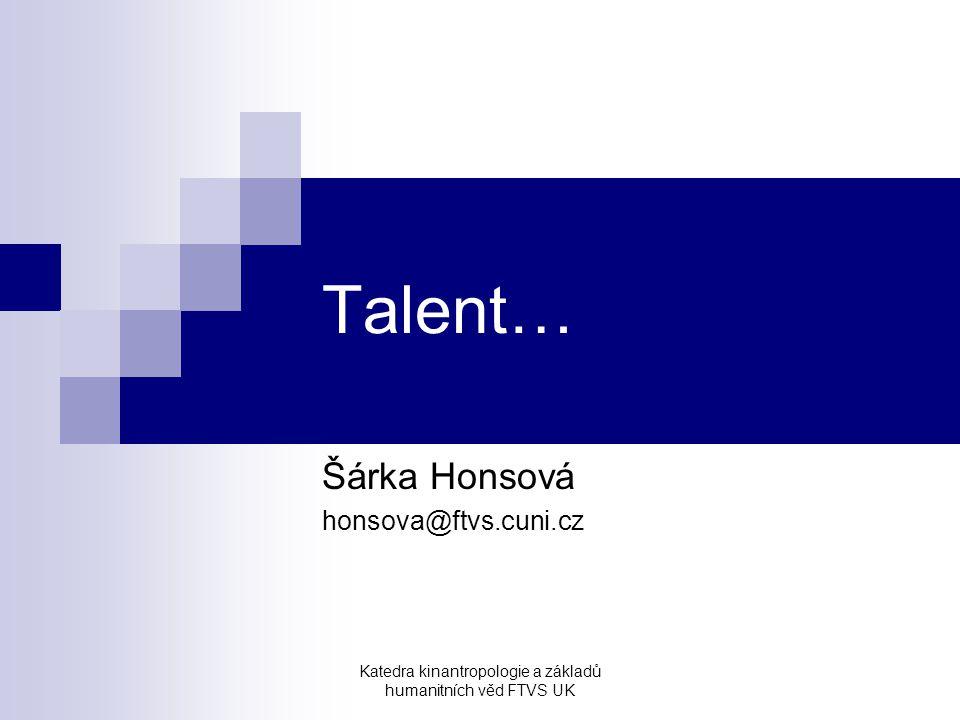 Šárka Honsová honsova@ftvs.cuni.cz