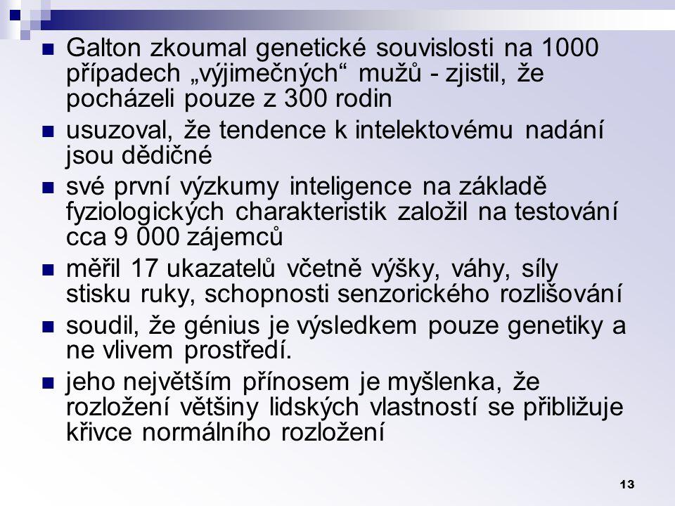 """Galton zkoumal genetické souvislosti na 1000 případech """"výjimečných mužů - zjistil, že pocházeli pouze z 300 rodin"""