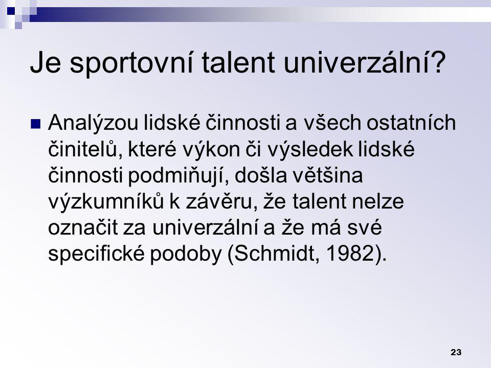 Je sportovní talent univerzální
